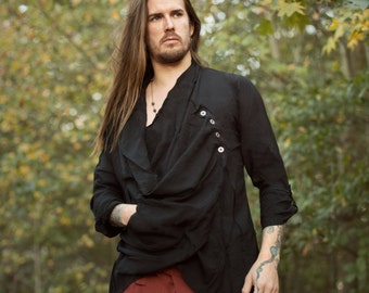 Drifter Tunic - Men's Neo-Shaman - Comfortable Style - Eastern Inspired Alt Fashion Shirt - Convertible