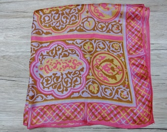 Vintage Retro Vibrant Pink Scarf with yellow and lilac brown in pattern 66cm x66cm