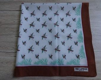 """Vintage Ted Lapidus Paris Birds Country scarf 66cm x 66cm / 25.9"""" x 25.9"""""""