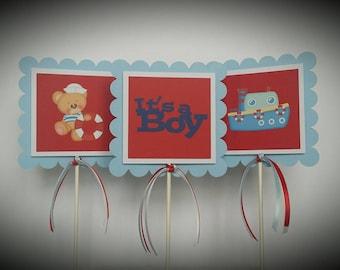 Sailor Baby Shower   Baby Sailor Centerpiece Sticks   Nautical Baby Shower  Centerpiece Sticks   Baby