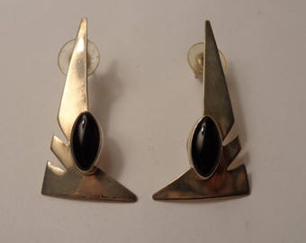 Carol Felley Sterling Silver and Black Onyx Modern Angular Stud Earrings for Pierced Ears