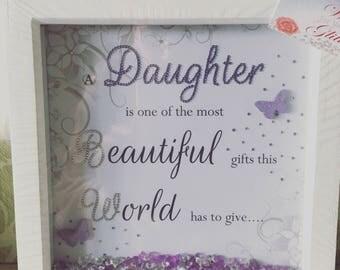 A beautiful purple daughter customised box frame