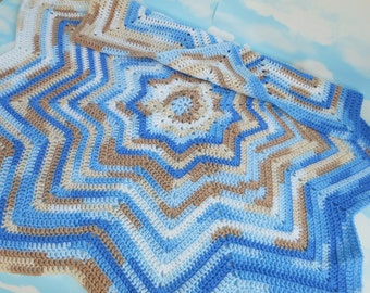 Crochet baby afghan blanket baby gift, crochet star blanket throw, new born photography props, unique baby boy gift shower, new baby gift