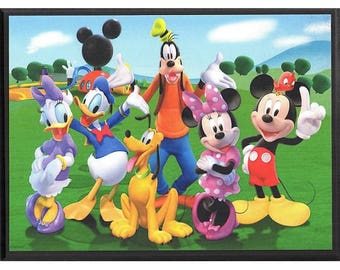 Poster mounted on wood of Mickey Mouse and friends