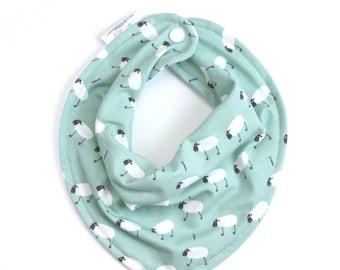 Sheep baby bib, baby boy bib, bandana bib boy, sheep bib, baby shower gift, baby bib, drool bib, scarf bib, baby boy gift, boy bibs,mint bib