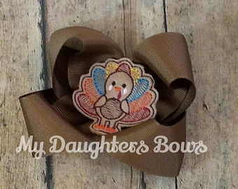 Chocolate  Brown Thanksgiving Turkey Hairbow -Boutique feltie Hairbow