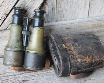 WWI French Lemaire Fabt Paris Military Field Binoculars with Leather Case