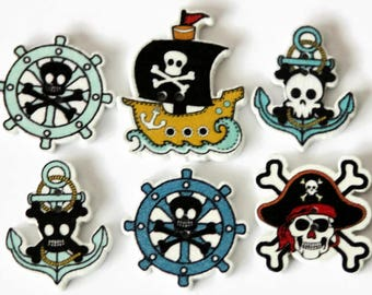 10 Pirate Buttons - Wooden Shaped Buttons - Novelty Buttons - Pirate Ship - Skull and Crossbones - Anchor buttons - Nautical Crafts - PW395