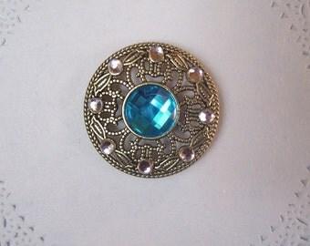 Jeweled Magnet (709) - Rhinestone Refrigerator Magnet - Repurposed jewelry - Jewelry magnet - office magnet