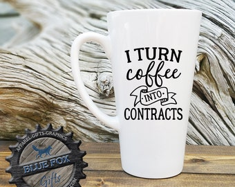 Gift for Real Estate Agent, I turn coffee into contracts,real estate agent mug,mortgage broker gift, gift for coworker, home gift,LAT_132