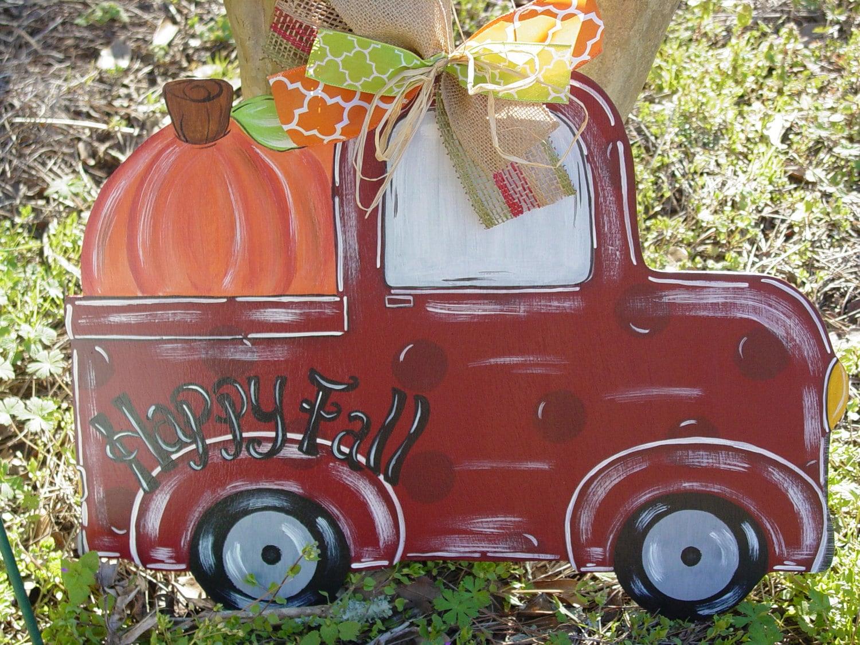Fun Fall Truck Door Hanger Wood Pumpkin Door Hanger Halloween