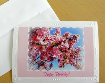 BIRTHDAY CARD For Her featuring the blossoms of the Pink Crabapple Tree created by Pam of Pam's Fab Photos; Ships Free