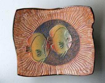 Hand-built Stoneware Platter with Sunfish design.