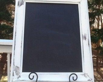 Large Framed Chalk Board / 11 x 14 White Distressed Chalkboard frame