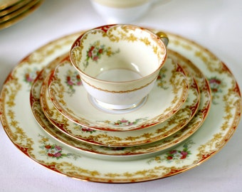 Antique Noritake Japan China Dishes - 1930s Lismore Pattern 609 Patent 98836 - Floral Red Cream Gold Trim