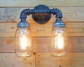 Clear 1 Quart Mason Jar Wall Sconce Light Black Iron Industrial Steampunk Style
