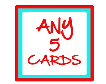 Choose ANY 5 birthday cards or greeting cards from ANY of our ranges.