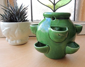 Small Hanging Strawberry Pot Planter  Vintage 1950's Camark Pottery