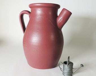 Zanesville Stoneware Company Hand Thrown Ware Pitcher Shape #515 in Matte Rose
