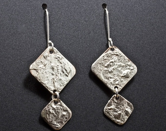 Melted Sterling Silver Double Shaped Square Dangle Earrings - Copper and Sterling Earrings - Mixed Metal Artisan Jewelry