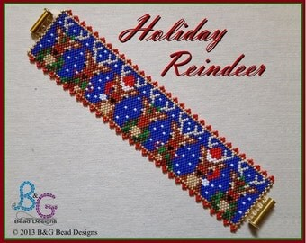 HOLIDAY REINDEER Peyote Cuff Bracelet Pattern