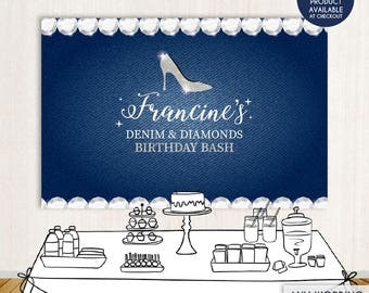 Denim And Diamonds Birthday Bash Party Backdrop - Denim Party Banner - Any Event Gold Silver - Printed Or Printable File BBD0061
