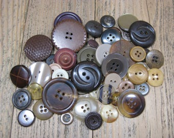 50 Vintage Brown Buttons Mixed Bulk