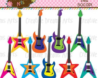 40% Off! Rock Guitar Digital Clip Art Instant Download