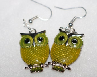 Yellow Owl Earrings Silver