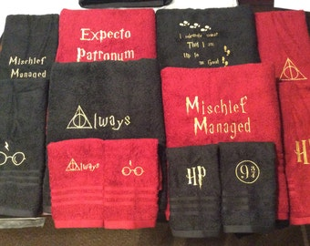 Harry Potter towel with quotes or symbols you choose which symbols