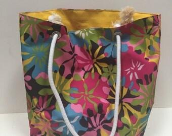 Handmade floral canvas tote bag