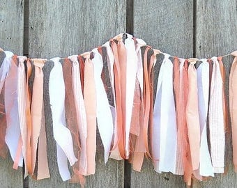 Peach Beach Wedding Garland, Tattered Fabric Banner, Photo Prop Backdrop, Birthday Party or Graduation Tent & Table Decoration, Wall Hanging