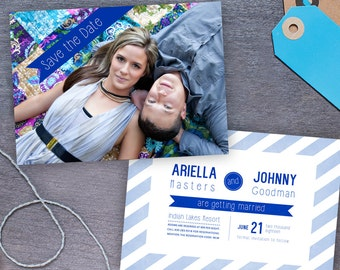 Save the Date, Customizable Printable Design or Printed Photo Card, Blue Stripes