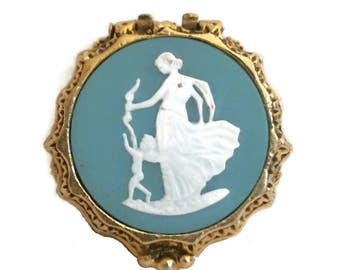 Venus & CUPID Solid Perfume Compact CORDAY Wedgwood Cameo FAME Fragrance Art Nouveau Gold Vintage Blue Jasperware Style 60s Vanity Case Rare