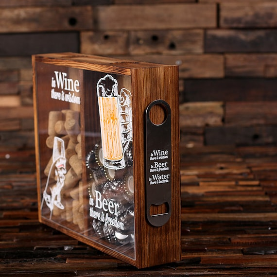 Beer Cap Holder Personalized Shadow Box Free Bottle Opener