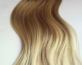 Medium Golden Blonde Balayage Clip In Extensions  | Silky Straight Natural Human Hair | 8 Pieces For a Full head | 120, 170, 220 & 270g Sets