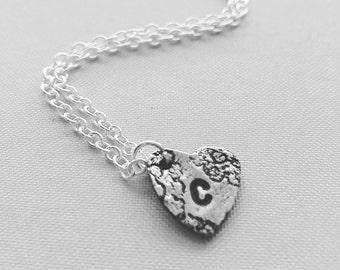 Silver lace and initial necklace, personalise yours.