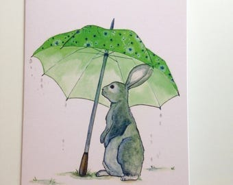 Spring Showers Bunny and Umbrella Greeting card 4.25x5.5 blank inside