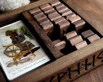 Elder Futhark Rune Engraved Wood Three Compartment Box