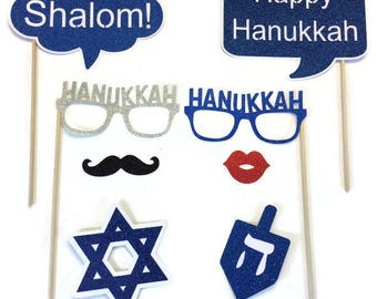 Hanukkah Photo Booth Props- 8 Piece Set- Holiday Photo Booth with Glitter - Photo Booth