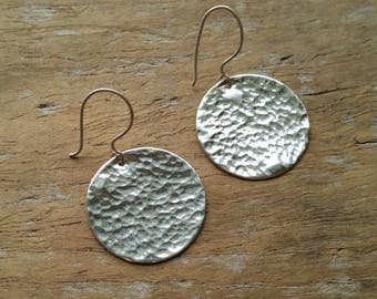 Hammered Circle Earrings. Sterling Silver. Long Dangle. Modern Drop Earrings.