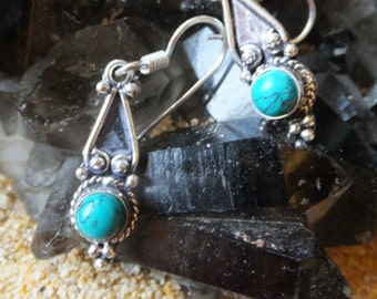 Vintage Turquoise and Sterling Silver Earrings..... 1.5 inches