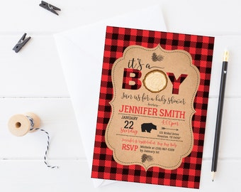 Lumberjack baby shower invitation, Rustic woodland baby shower invitation, Buffalo plaid baby shower invitation, Winter baby shower