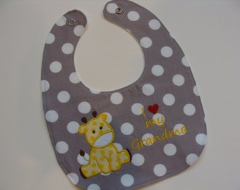 Personalized baby bib with your custom message in choice of polka dots - shower gift, new mom, new grandma, new aunt, new dad, new grandpa