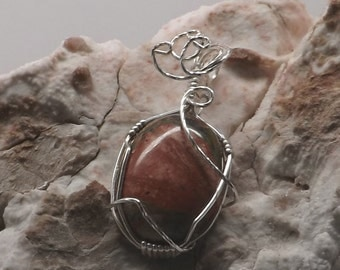 Wire Wrapped Pendant 25x18mm Unakite Gemstone in Sterling Silver