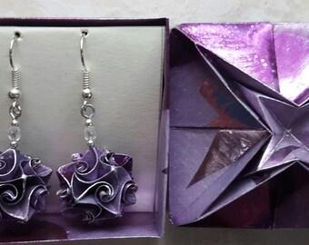Origami earrings purple paper jewelry handmade