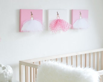 Girl Nursery Wall Art Baby Girl Nursery Decor Girl Nursery Art Ballerina Art Ballet Canvas Art