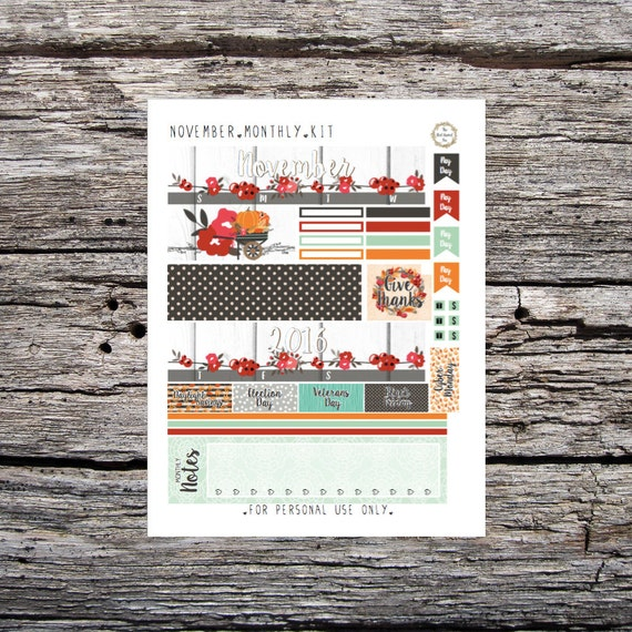 November Monthly: Printable Planner Stickers for Erin Condren (PDF)