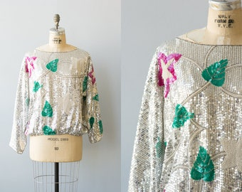 Star Bright blouse | Vintage 1980s pink and silver sequin blouse | 80s beaded tops