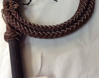 Whip 8 ft. 8 plait BULLWHIP Pro Rodeo Bull WHIP with swivel handle Indiana Jones with nylon popper